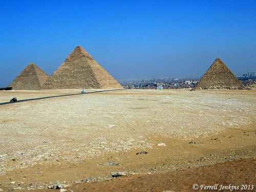 "The pyramids of Giza"" Cheolps, Chephren, and Mycerinus (left to right). Photo by Ferrell Jenkins."