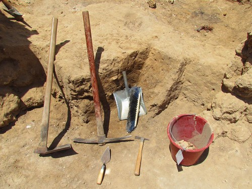 Tools of the Trade (Back): Turia, Pickaxe, Brush and Dustpan, (Front) Trowel, Patich, Pottery Bucket. Photo: Trent and Rebekah.