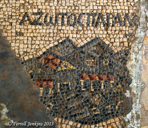 Azotus Paralios is portrayed on the 6th century A.D. Madaba mosaic map. Photo by Ferrell Jenkins.