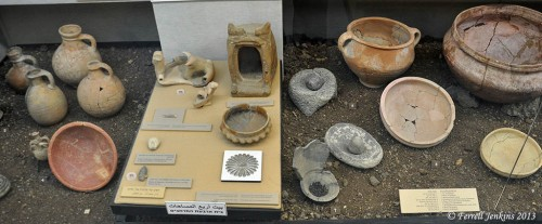 At least 7 of the artifacts displayed in this case at The Ein Dor Archaeological Museum are from Tel Rekesh. Photo by Ferrell Jenkins.