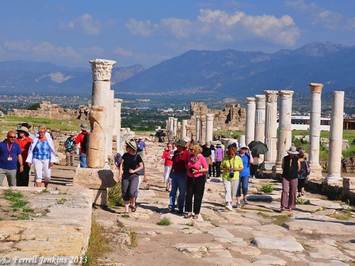 Tourists on the Syrian Street at Laodicea. Colossae is located at the foot of Mount Cadmus, seen in the distance to the east. Photo by Ferrell Jenkins.