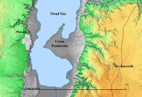 Map of the southern end of Dead Sea.