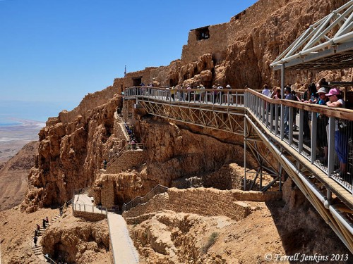 After a cable-car ride, or by walking the snake path for about an hour one reaches the entrance to the rock fortress of Masada. Photo by Ferrell Jenkins.