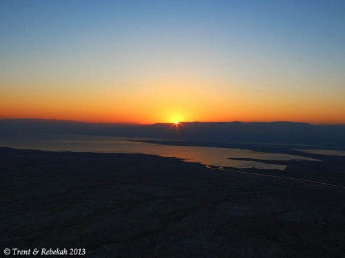 Sunrise from Masada. Photo by Trent and Rebekah, Aug. 01, 2013.