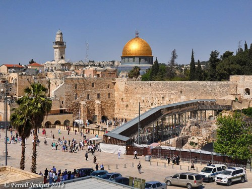 The Western Wall, the Dome of the Rock, and the Mughrabi Gate are visible in this single photo. Photo by Ferrell Jenkins.