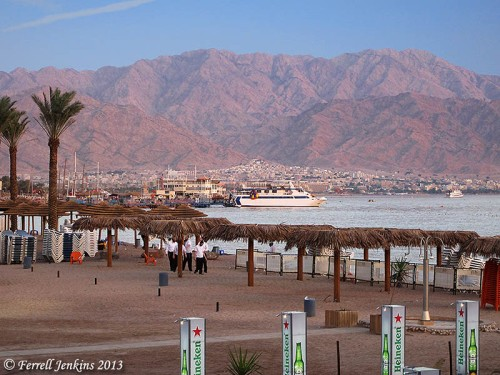 The north end of the Gulf of Eilat.Aqabah. The view is to the east and the city of Aqabah, Jordan. Tell el-Kheleifeh is only a few blocks north of the shore. Photo by Ferrell Jenkins.