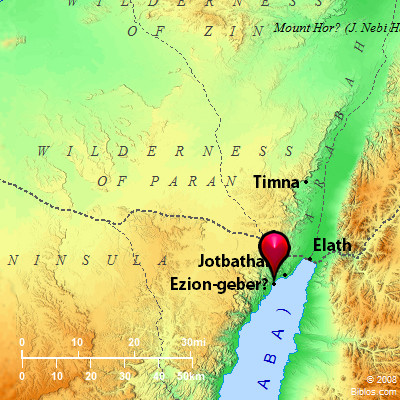 Map of Ezion-geber, Elath, and Timnah. BibleAtlas.org.