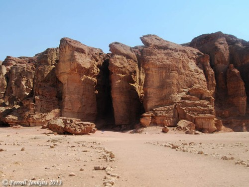 These massive pillars at Timna have been associated with Solomon for a long time. Photo by Ferrell Jenkins.