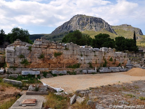 The bema in the agora of Corinth. The Acrocorinth is in the distance. Photo by Ferrell Jenkins.