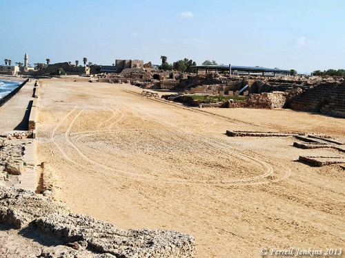 The seaside Hippodrome at Caesarea Maritima. Photo by Ferrell Jenkins.