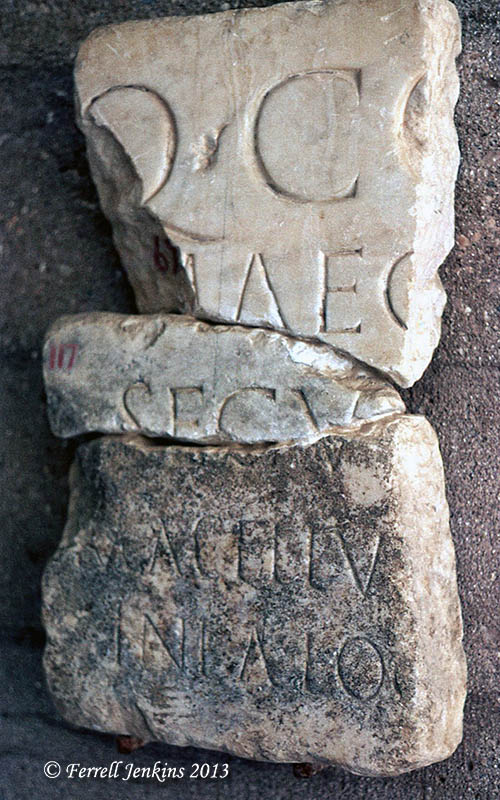 Makellum inscription at Corinth Museum in 1971. Photo by Ferrell Jenkins.