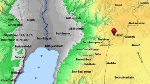 Map showing Elealeh in Moab. BibleAtlas.org.