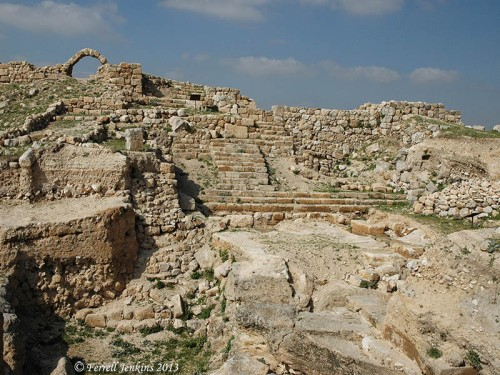 Roman steps and market area at Tell Ḥesbân. Photo by Ferrell Jenkins.