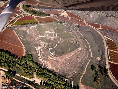 Tel Lachish from the air. Photo by Ferrell Jenkins.