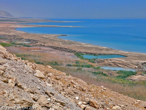 Western shore of the Dead Sea north of En Gedi. Photo by Ferrell Jenkins.