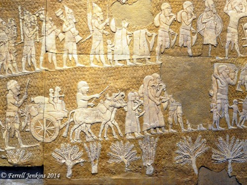 Sennacherib's relief showing the women of Lachish going into captivity. Replica in Israel Museum. Photo by Ferrell Jenkins.