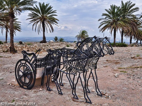 Metal sculpture of horses and chariot at Megiddo. Photo by Ferrell Jenkins.
