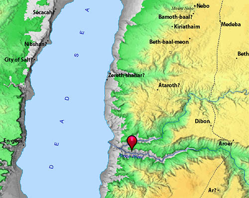 The Arnon River is shown on this map. BibleAtlas.org.