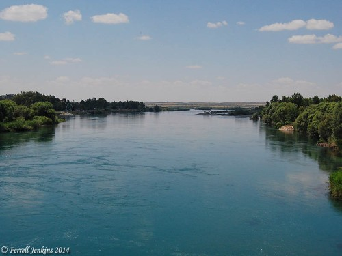 View north of the Euphrates River at Berecik, Turkey. Photo by Ferrell Jenkins.