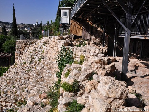 Possible portion of wall from time of Nehemiah in the City of David. Photo by Ferrell Jenkins.