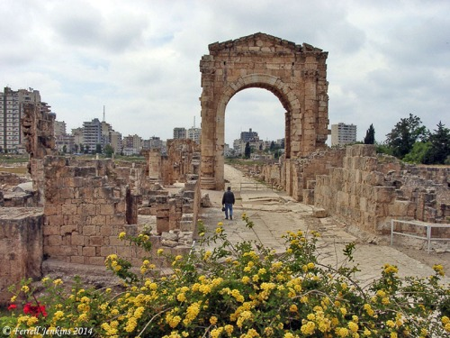 A Roman arch built on the causeway built by Alexander the Great. View West. Photo by Ferrell Jenkins.