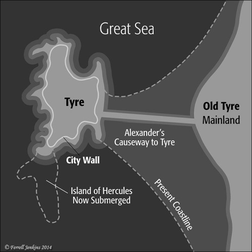 The mainland has not been rebuilt since the destruction by Nebuchadnezzar and the Babylonians (585-572 B.C.).