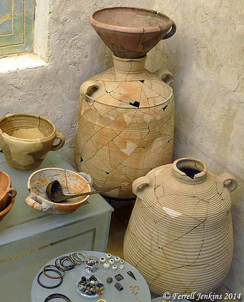 Restored pottery at the En-Dor archaeological museum. Photo by Ferrell Jenkins.