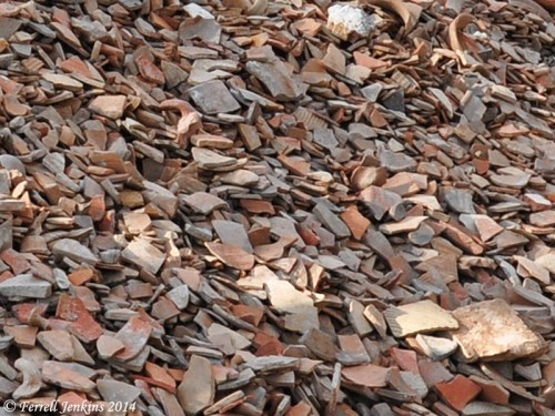 Broken pottery shards at Ramat Rachel. Photo by Ferrell Jenkins.