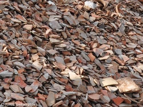 Broken pottery shards at Ramat Rachel. Photo by Ferrell Jenkins.
