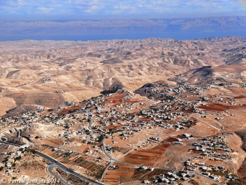 Aerial view east across the wilderness of Judah and the Dead Sea to the Transjordan Plateau. Photo by Ferrell Jenkins.