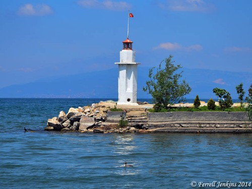 Lighthouse in Lake Iznik. Photo by Ferrell Jenkins.