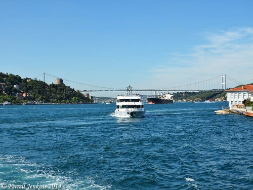 Cargo and tourists making their way through the Bosporus. Photo by Ferrell Jenkins.