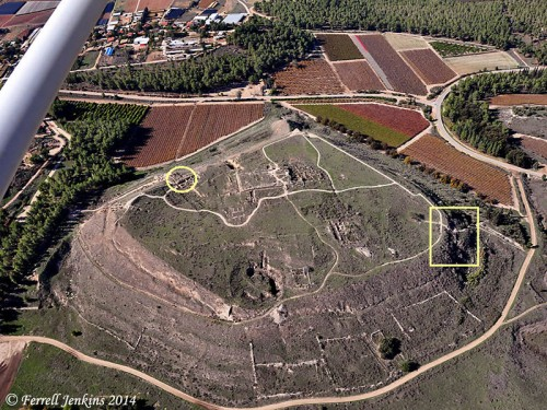 Aerial view of Lachish showing Iron Age gate (oval), and the earlier gate (rectangle). Photo by Ferrell Jenkins.