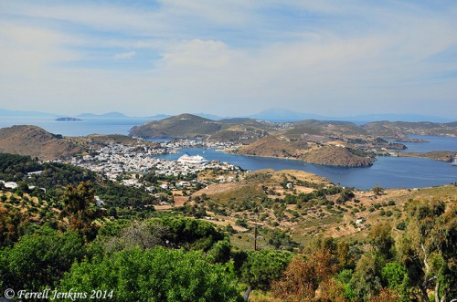 View of the port of Skala from Chora. Photo by Ferrell Jenkins.