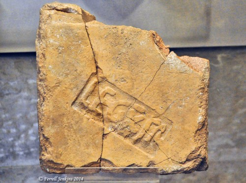 Tile of the Tenth Legion from Ramat Rachel. Photo by Ferrell Jenkins.