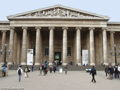 British Museum entrance on Great Russel Street, London. Photo by Ferrell Jenkins.
