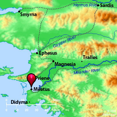 Map showing Miletus and Ephesus. Map courtesy BibleAtlas.org.