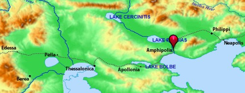Map showing Amphipolis. Credit: Bible Atlas.