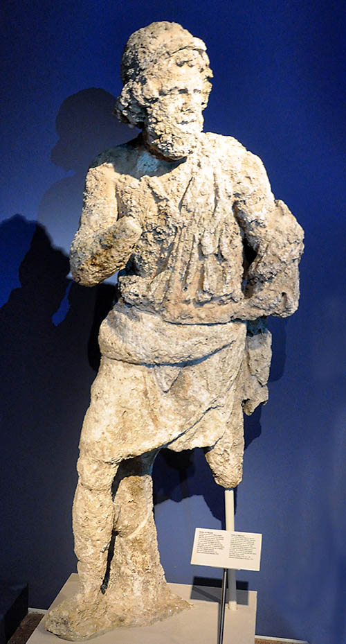 A statue of Odysseus, the mythical king of Ithaca. Parian marble. Before the middle of the 1st century B.C.