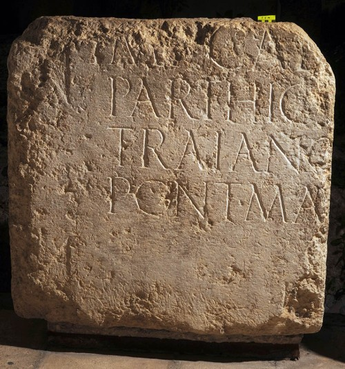 Part of the Hadrian inscription discovered in the late 19th century by Clermont Ganneau, now located in Studium Biblicum Franciscanum Museum. Photo by Garo Nalbandian, courtesy of the Museum.