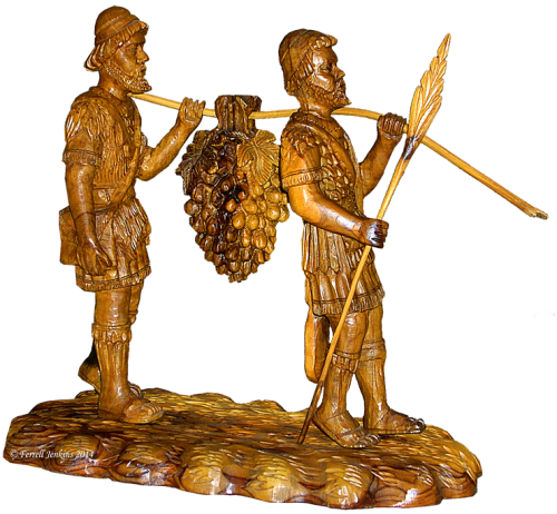 Olive wood carving of the faithful spies. Photo by Ferrell Jenkins.