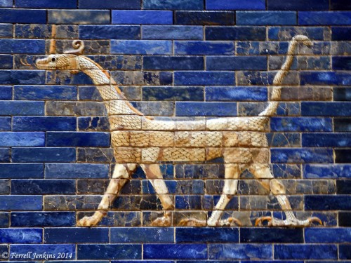 Dragon made of chrome brick on the Ishtar Gate. (Museum of the Ancient Near East, Berlin). The dragon is a composite creature with the head of a fire-spewing dragon, body and tail of a serpent, front feet of a feline, and back feet of a bird. This provides a good illustration of the apocalyptic language found in the Old Testament prophets. Photo by Ferrell Jenkins.