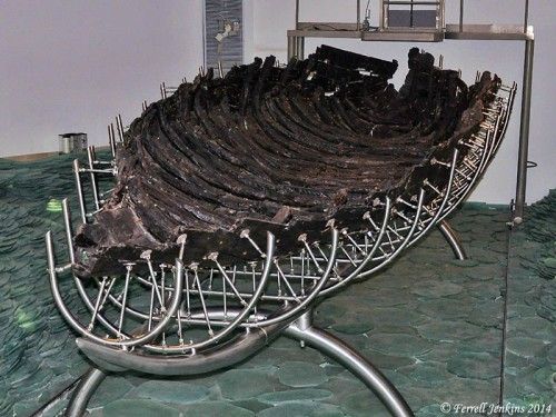 The Roman boat discovered in the Sea of Galilee in 1986. Photo by Ferrell Jenkins.