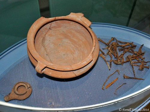 Pottery found in association with the boat, and nails from the boat. Photo by Ferrell Jenkins.