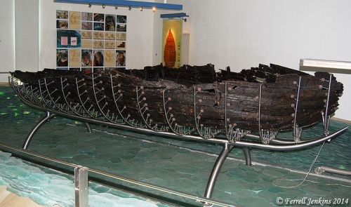 The Roman boat displayed in the Yigal Allon Museum. Photo by Ferrell Jenkins.