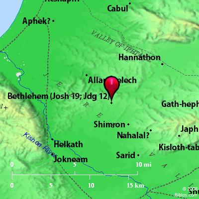 Map showing Galilean Bethlehem. BibleAtlas.org