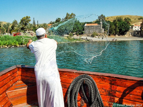 Fisherman casting a net in the warm water at Tabgha. Photo by Ferrell Jenkins.