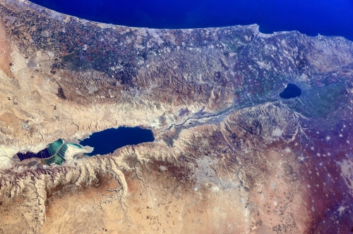 Israel, the West Bank, and part of Jordan from the ISS. Photo: NASA/Barry Wilmore.