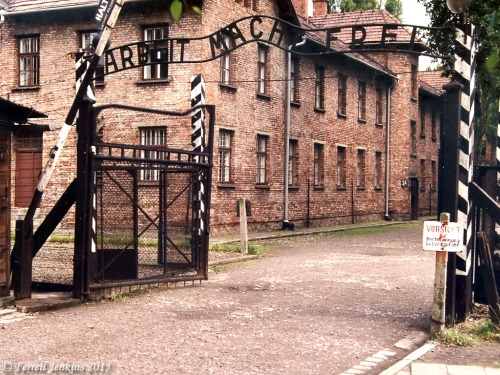 The entrance to Auschwitz. Photo by Ferrell Jenkins, 1991.