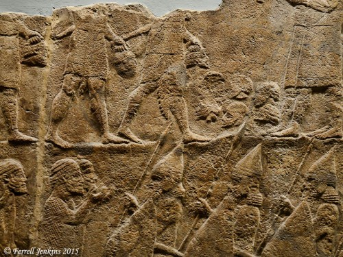 Counting the heads of the dead at Lachish. Photo by Ferrell Jenkins.